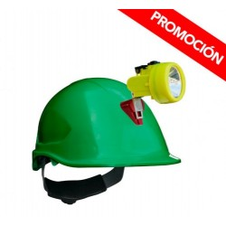 Kit Lámpara Minera KL 3500 + Casco ABS Verde C/Portalamparas