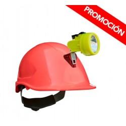 Kit Lámpara Minera KL 3500 + Casco ABS Rojo C/Portalamparas